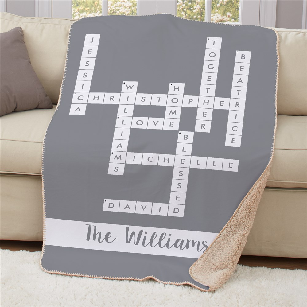 Personalized Crossword Blankets | Puzzle Lover Gifts