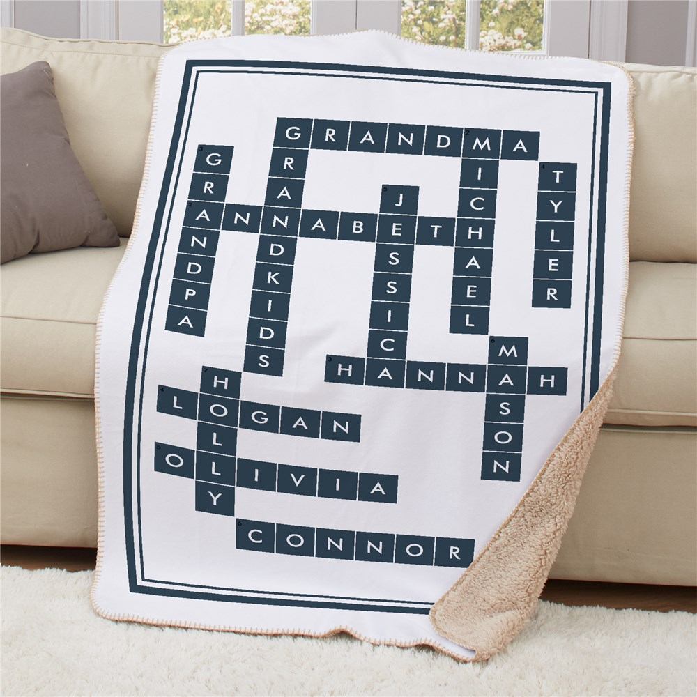 Personalized Crossword Blanket | Crossword-Themed Gifts