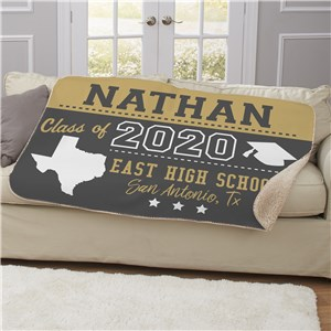 Graduation Blanket With State