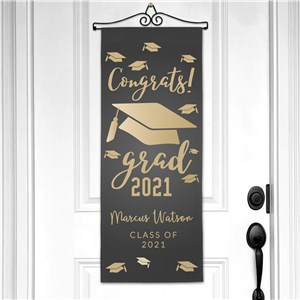 Personalized Congrats Grad with Hats Wall Hanging