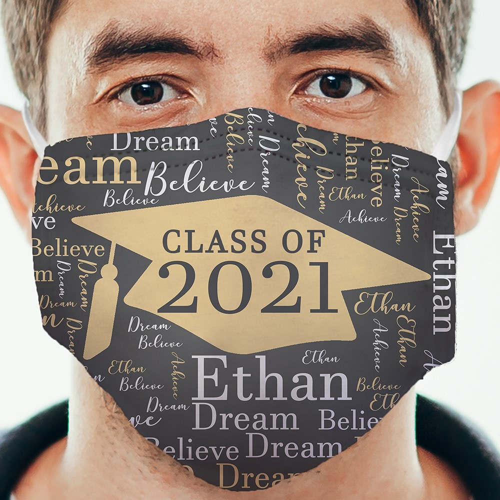 Personalized Grad Cap Word Art Face Mask