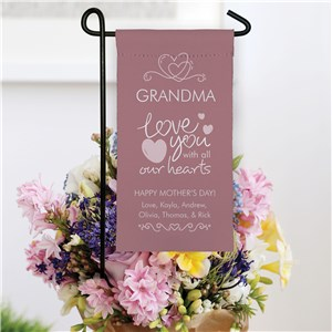Personalized Mini Heart Garden Flag
