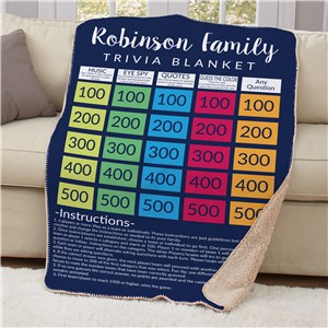 Personalized Family Trivia Sherpa Blanket