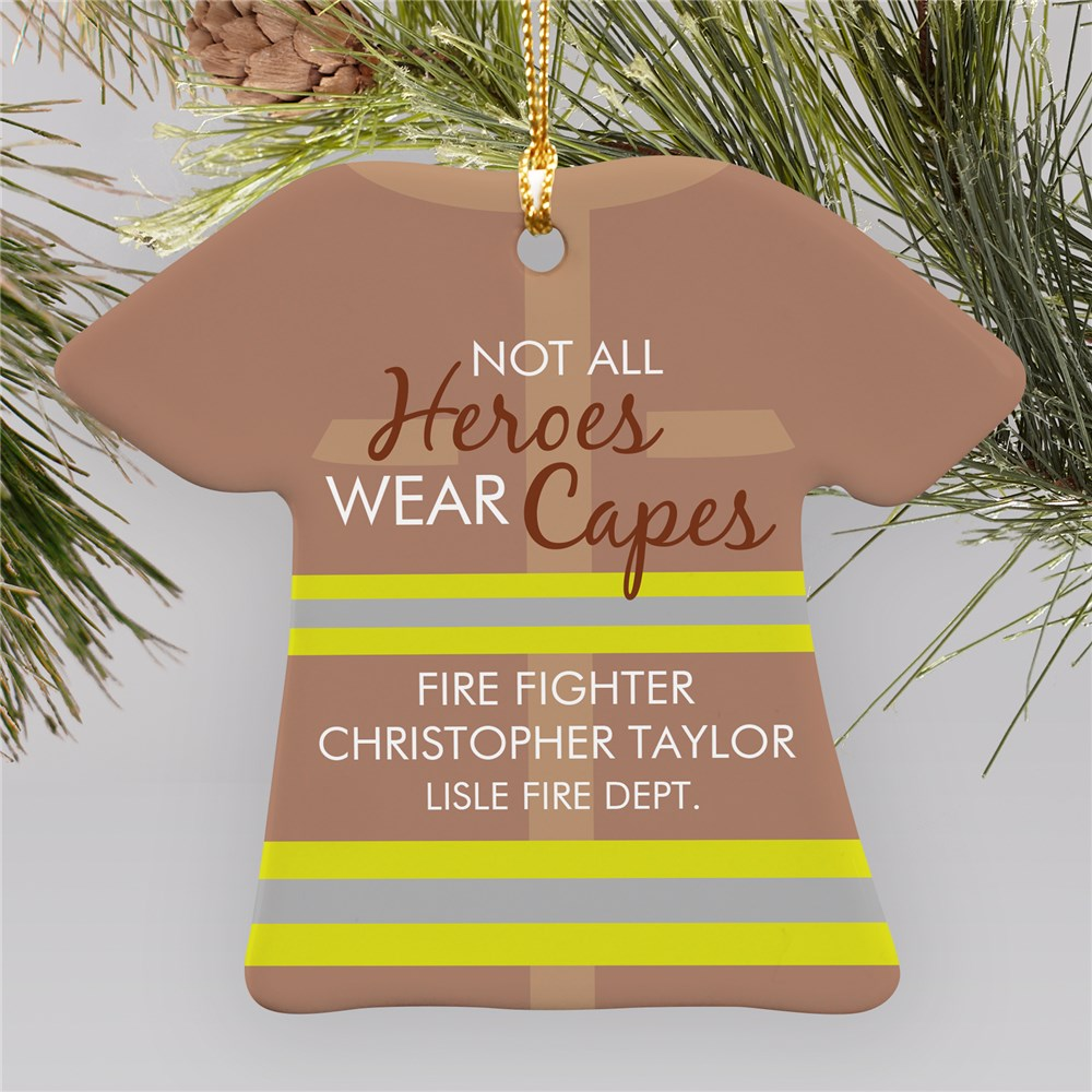 Personalized Not All Heroes Wear Capes Firefighter Ornament