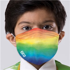 Personalized Rainbow Watercolor Kids' Face Mask