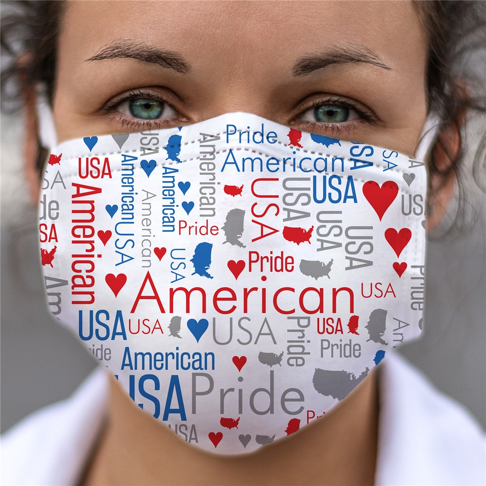 American Pride Word Art Face Mask