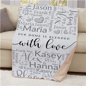 Personalized Family Blended With Love Word Art 50x60 Sherpa Blanket