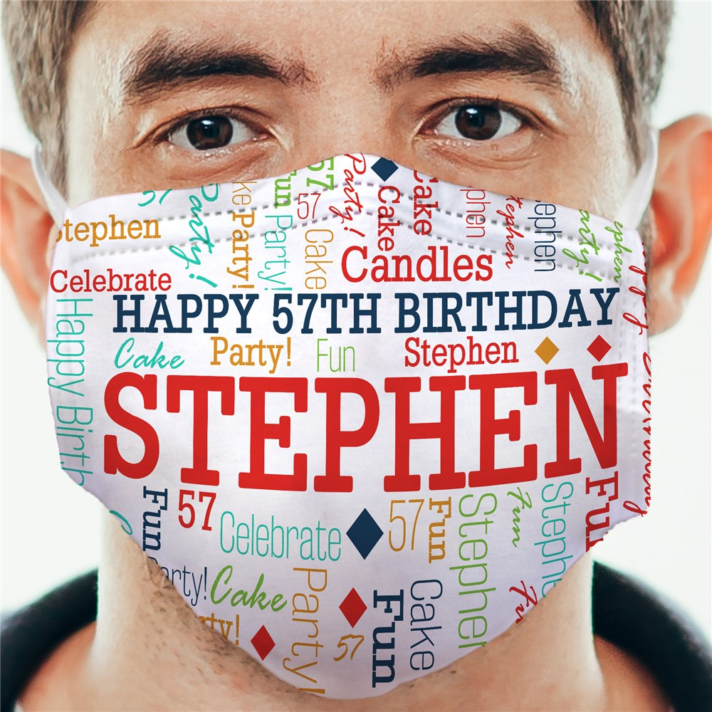 Birthday Confetti Word Art Adult Face Mask