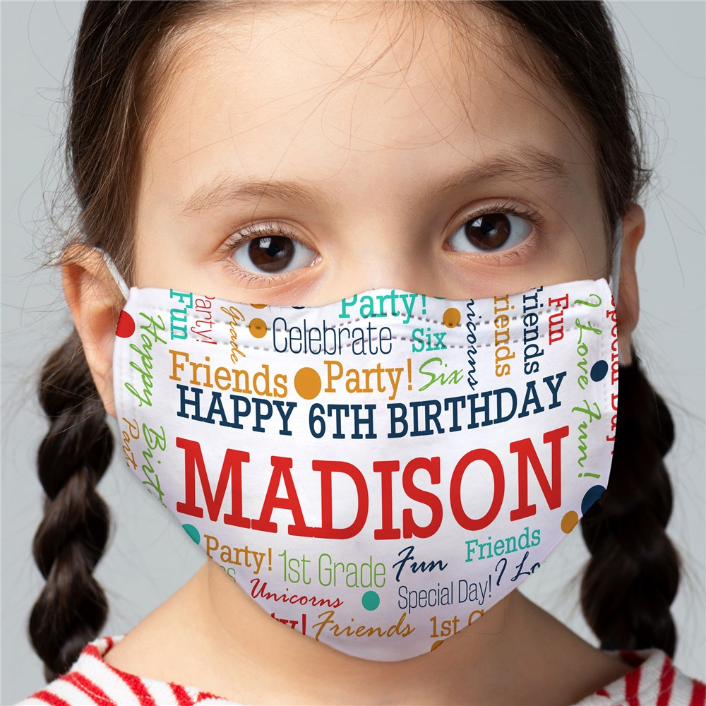 Birthday Confetti Word Art Child Face Mask
