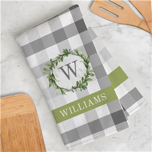 Personalized Eucalyptus Wreath on Plaid Dish Towel U16784125