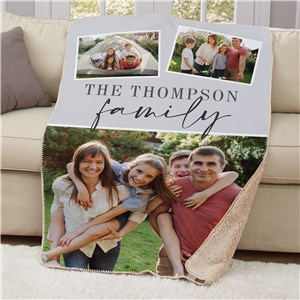 Personalized 3 Photo Family Sherpa Blanket