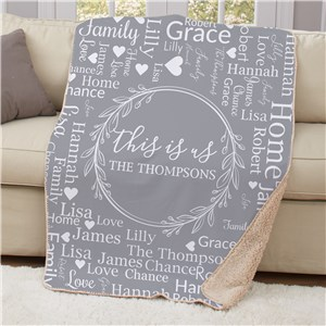 Personalized This Is Us Word Art Sherpa Blanket