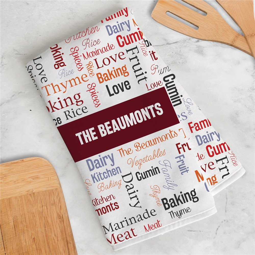 Personalized Familly Banner Word Art Dish Towel