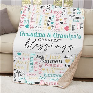 Personalized Greatest Blessings Word-Art Sherpa Blanket