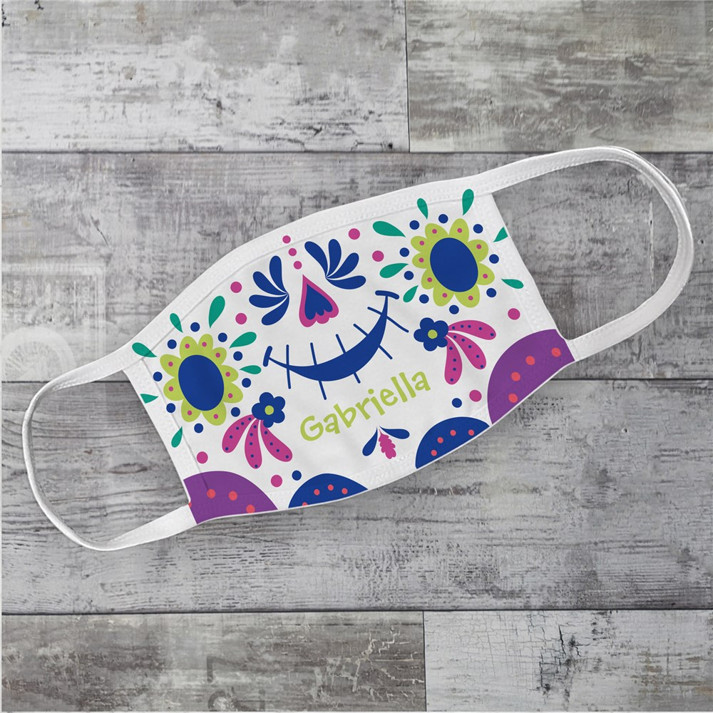 Personalized Sugar Skull Youth Face Mask