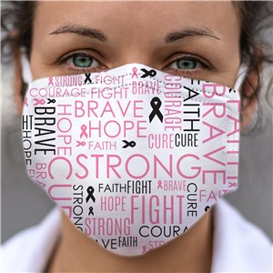 Breast Cancer Awareness Word Art Face Mask