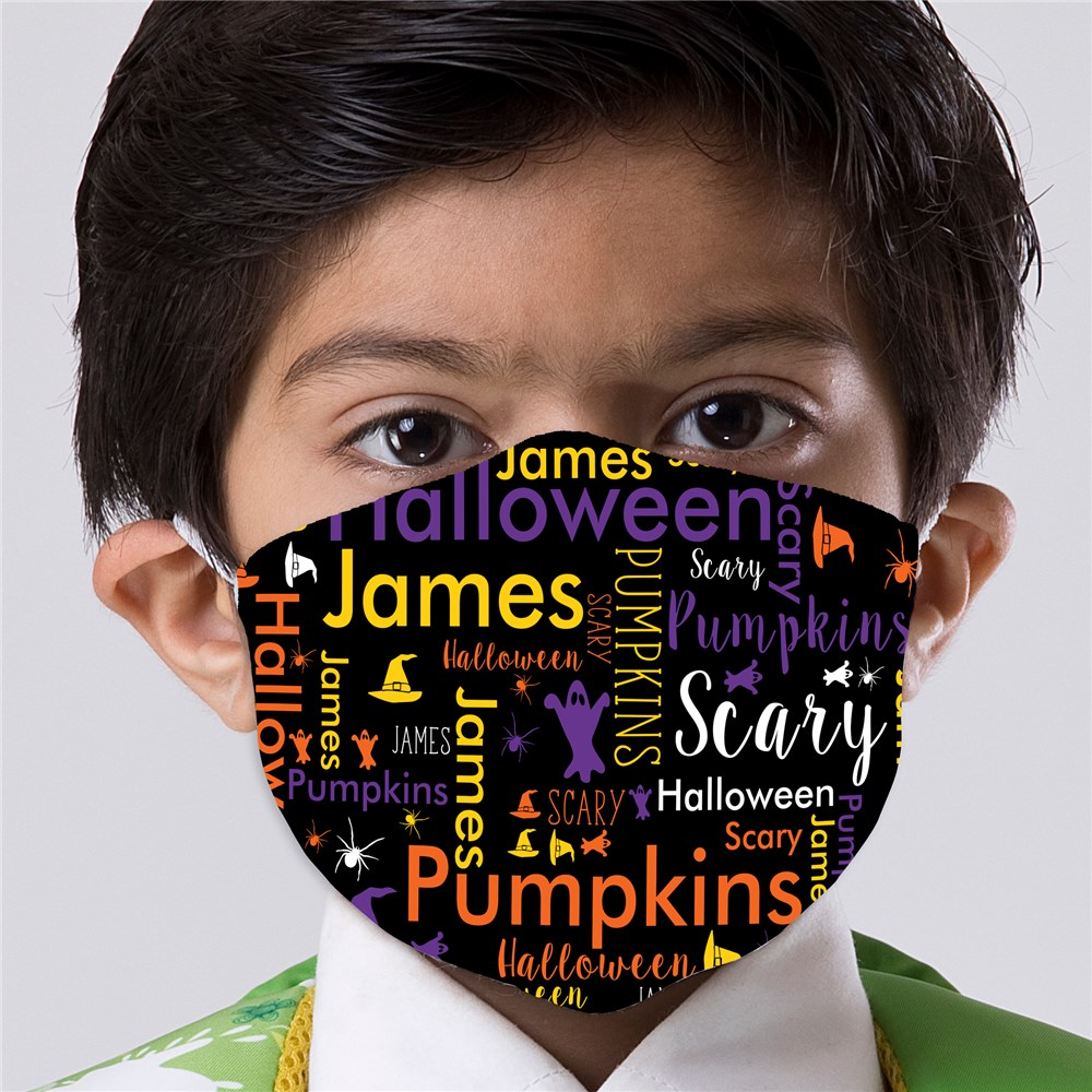 Spooky Halloween Word Art Youth Face Mask