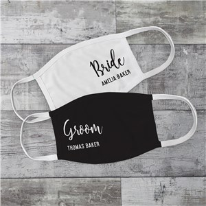 Personalized Groom & Bride Wedding Face Mask