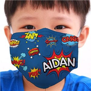Personalized Comic Book Youth Face Mask