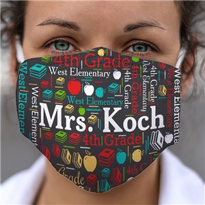 Personalized Word-Art Teacher Face Mask