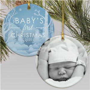 Personalized Baby's First Christmas Photo Double Sided Round Ornament U1699110
