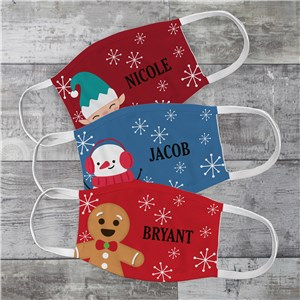 Personalized Christmas Characters Youth Face Mask