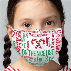 Personalized Candy Cane Word Art Child Face Mask