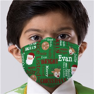 Personalized Christmas Character Word Art Youth Face Mask