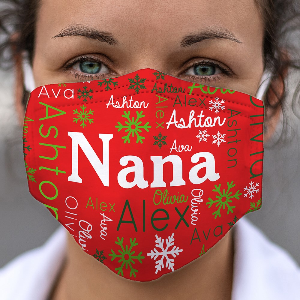 Personalized Christmas Word-Art Face Mask