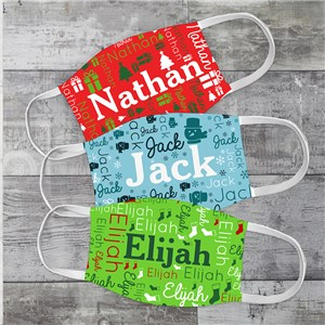 Personalized Holiday Word Art Youth Face Mask