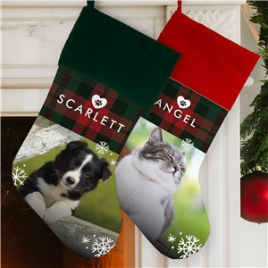 Personalized Plaid Pet Photo Stocking