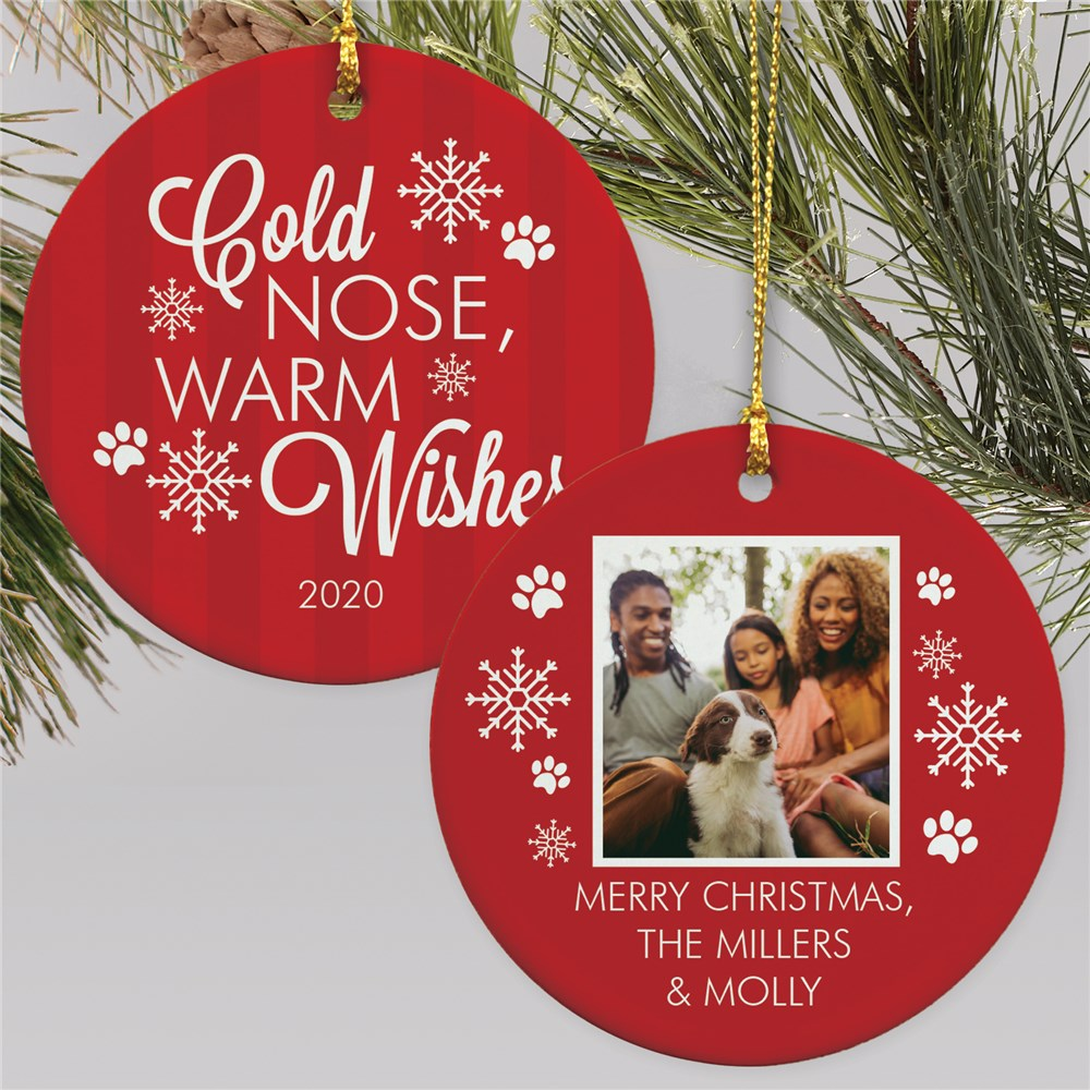 Personalized Cold Noses, Warm Wishes Photo Double Sided Round Ornament
