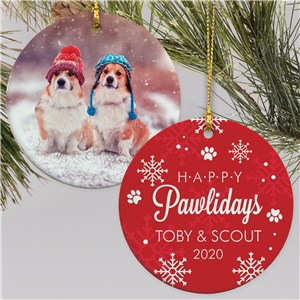 Personalized Happy Pawlidays Photo Double Sided Round Ornament