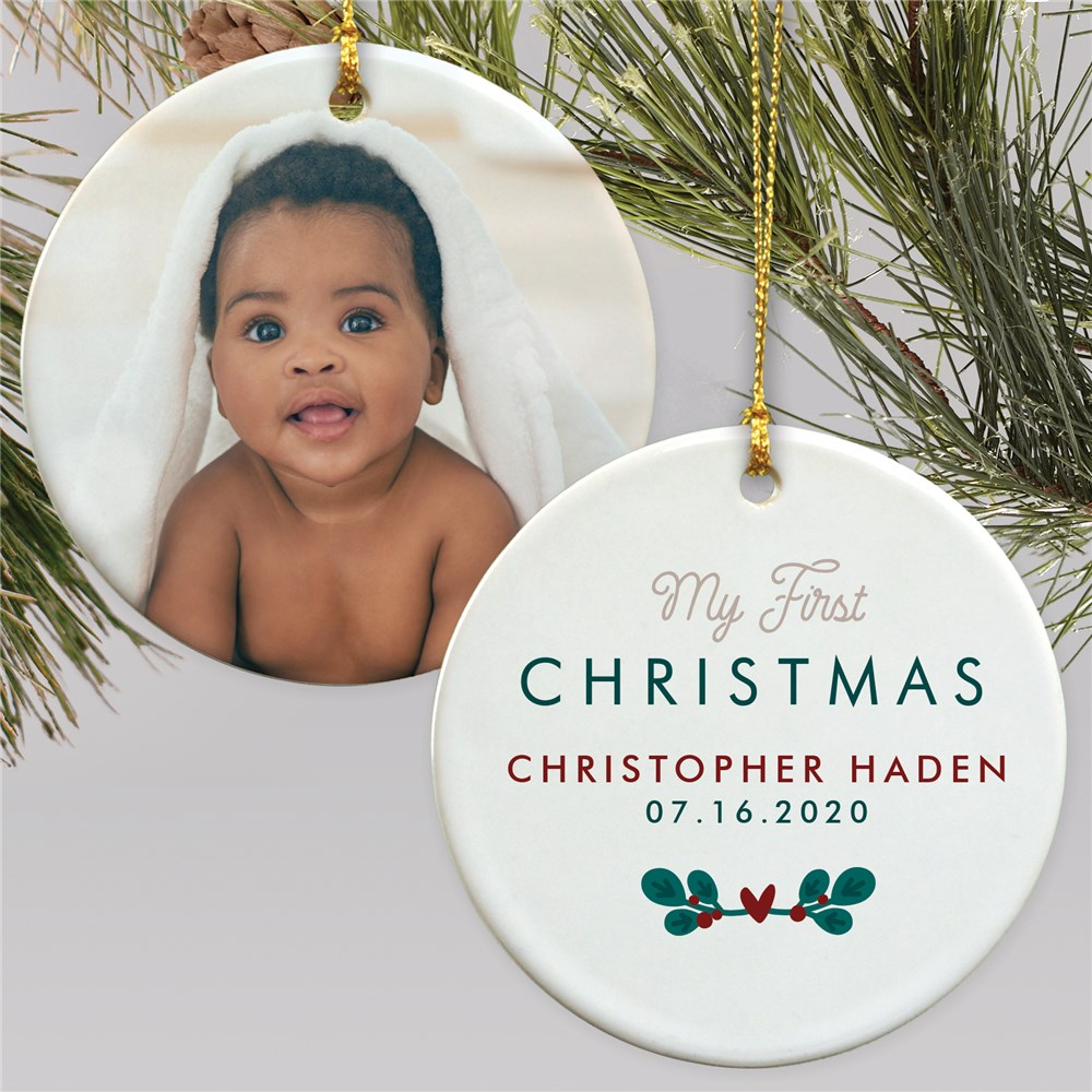 Personalized My First Christmas Photo Double Sided Ornament