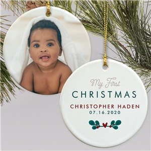 Personalized My First Christmas Photo Double Sided Ornament U1715710