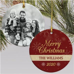 Personalized Merry Christmas with Photo Round Double Sided Ornament