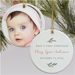 Personalized First Christmas Photo Double Sided Round Ornament U1716010