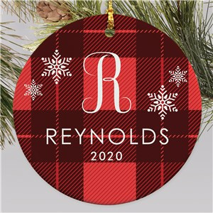 Personalized Red Plaid Snowflakes Round Ornament