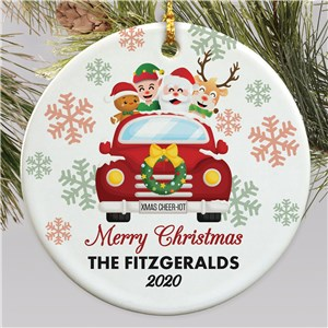 Personalized Vehicle with Christmas Characters Round Ornament