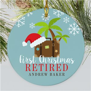 Personalized First Christmas Retired Suitcase Round Ornament