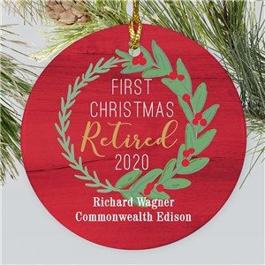Personalized First Christmas Retired Wreath Round Ornament