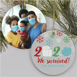Personalized We Survived Photo Double Sided Round Ornament