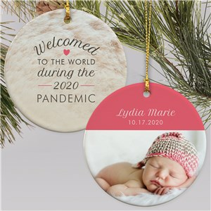 Personalized Welcomed to the World Double Sided Round Ornament