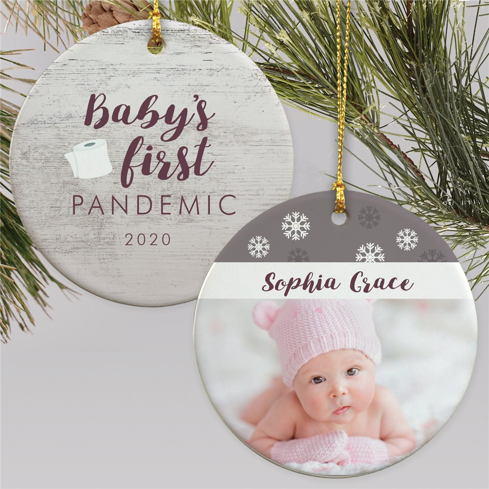 Personalized Baby's First Pandemic Double Sided Photo Ornament