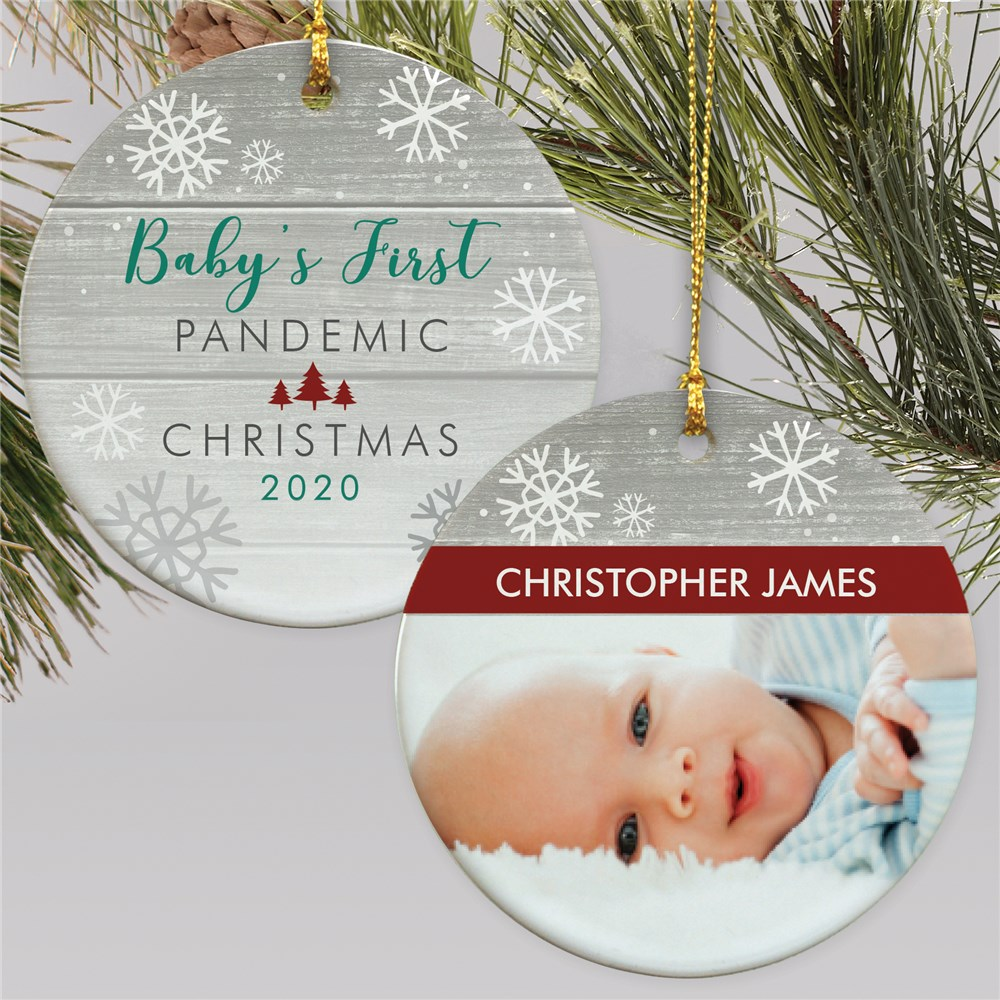 Personalized Baby's First Pandemic Christmas Double Sided Photo Ornament