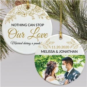 Personalized Nothing Can Stop Our Love Photo Double Sided Ornament