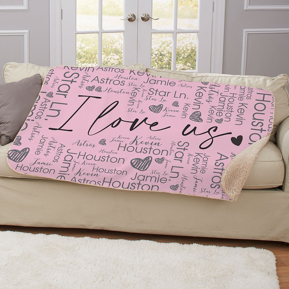 I Love Us Word-Art Sherpa Personalized Blanket
