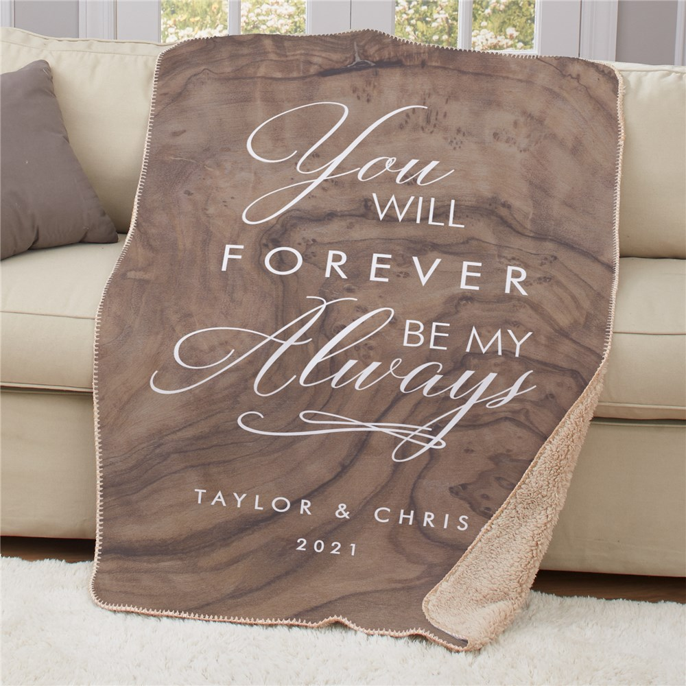 Personalized Forever My Always Sherpa Blanket