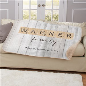 Personalized Word Tiles Sherpa Blanket U1736287