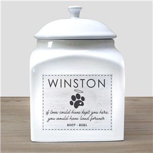Personalized Dog Paw Pet Urn